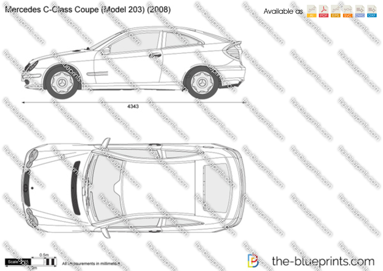 The vector drawing mercedes benz c class coupe w203 - S class coupe dimensions ...