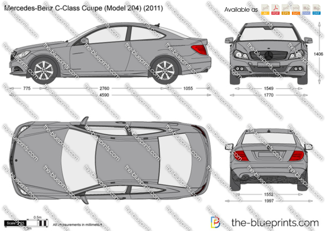 The vector drawing mercedes benz c class coupe w204 - S class coupe dimensions ...