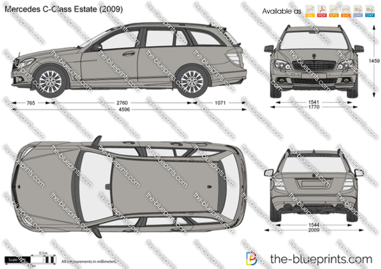 mercedes benz c class estate w204 vector drawing. Black Bedroom Furniture Sets. Home Design Ideas