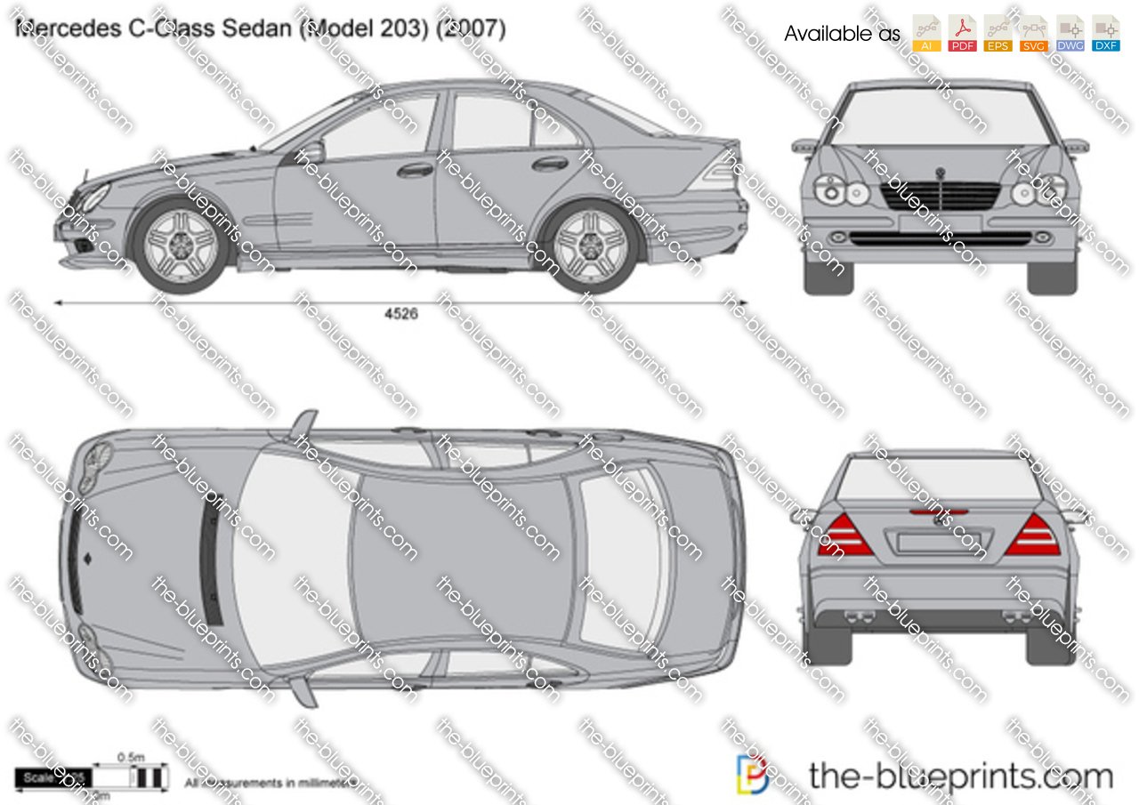 mercedes benz c class sedan w203 vector drawing. Black Bedroom Furniture Sets. Home Design Ideas