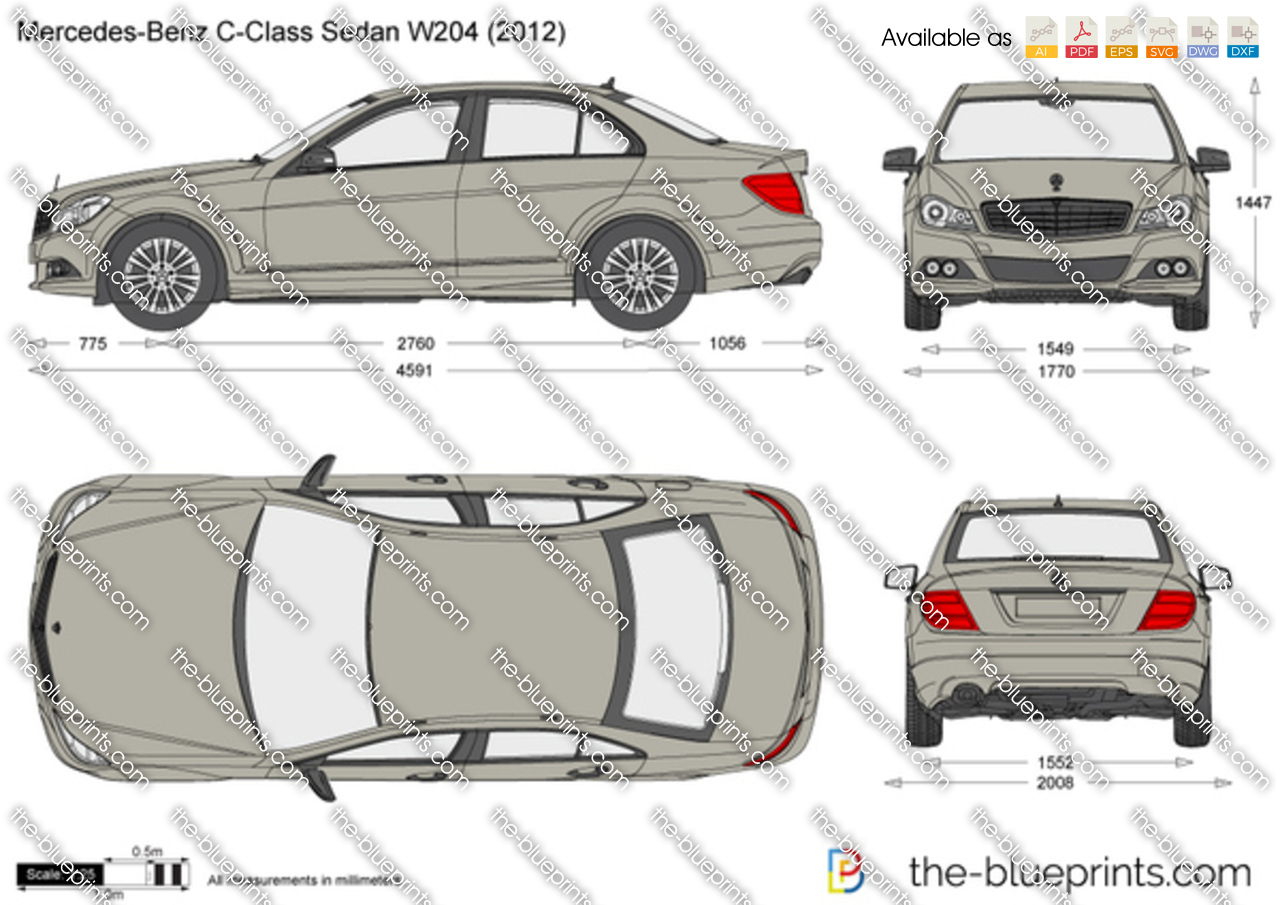 Mercedes benz c class sedan w204 vector drawing - S class coupe dimensions ...