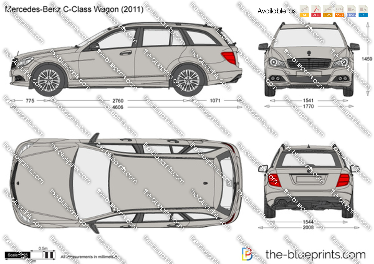 mercedes benz c class wagon w204 vector drawing. Black Bedroom Furniture Sets. Home Design Ideas