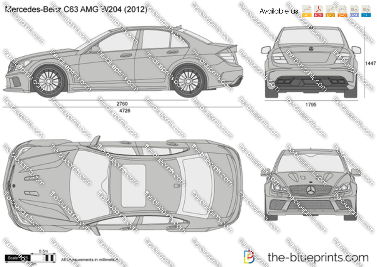 Mercedes Benz C63 Amg W204 Vector Drawing