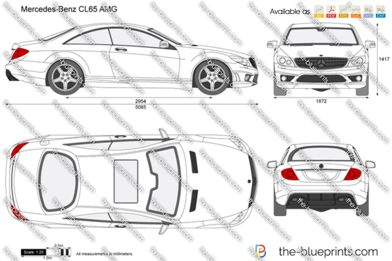 Mercedes benz cl65 amg vector drawing mercedes benz cl65 amg malvernweather Gallery