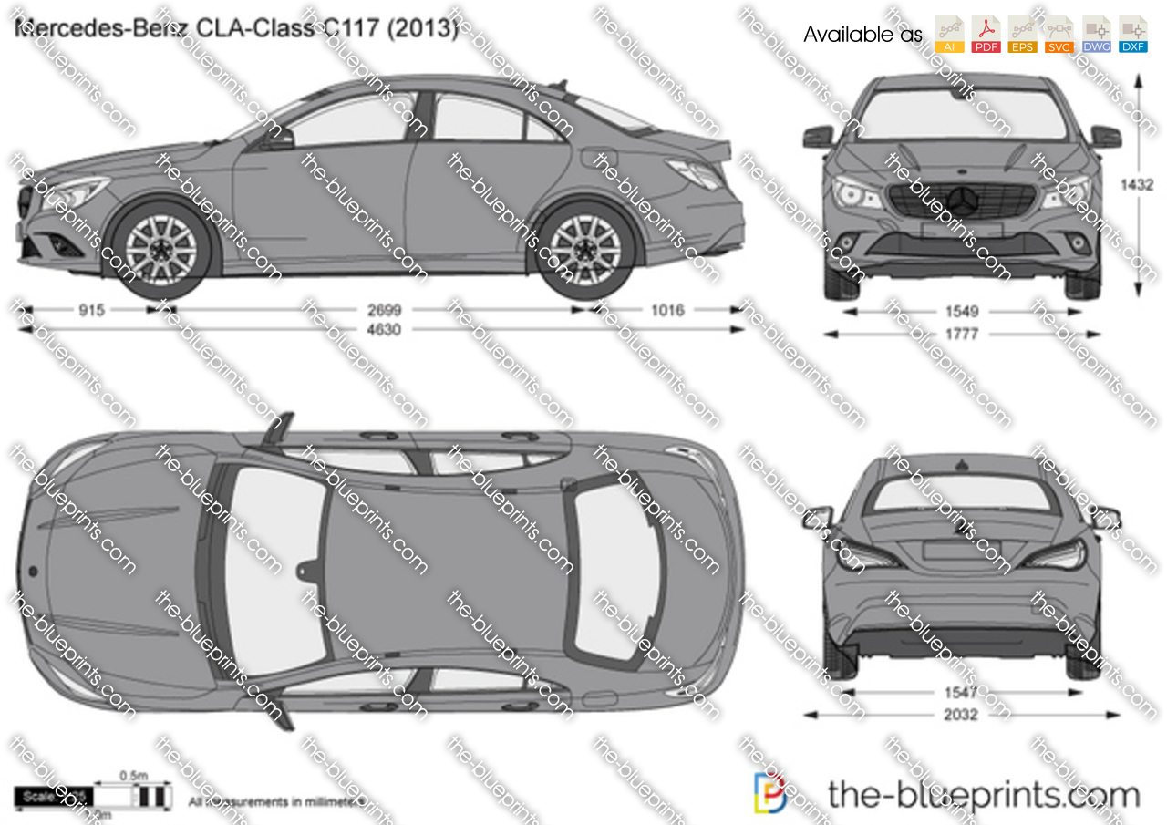 Ford Transit 2017 Wymiary >> The-Blueprints.com - Vector Drawing - Mercedes-Benz CLA-Class C117