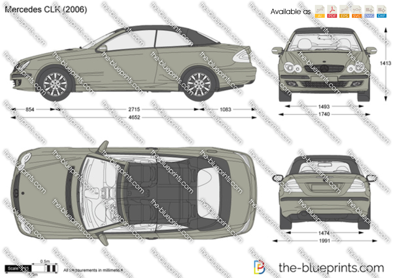 mercedes benz clk w209 vector drawing. Black Bedroom Furniture Sets. Home Design Ideas