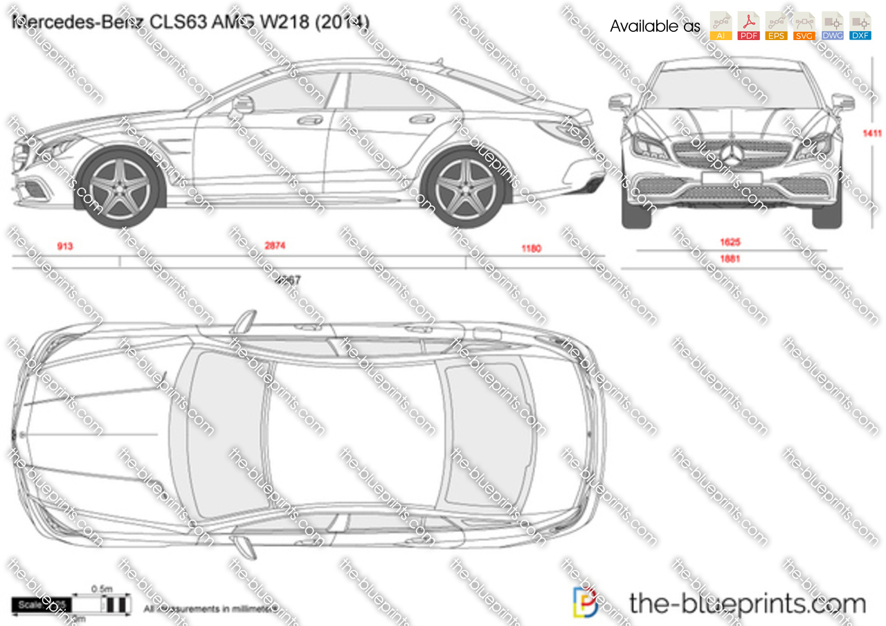 Mercedes Benz Cls63 Amg W218 Vector Drawing