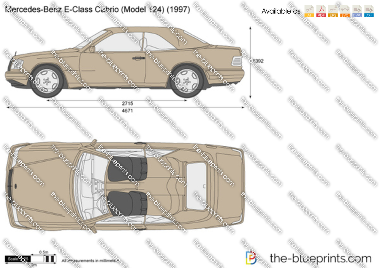 mercedes benz e class cabrio w124 vector drawing. Black Bedroom Furniture Sets. Home Design Ideas