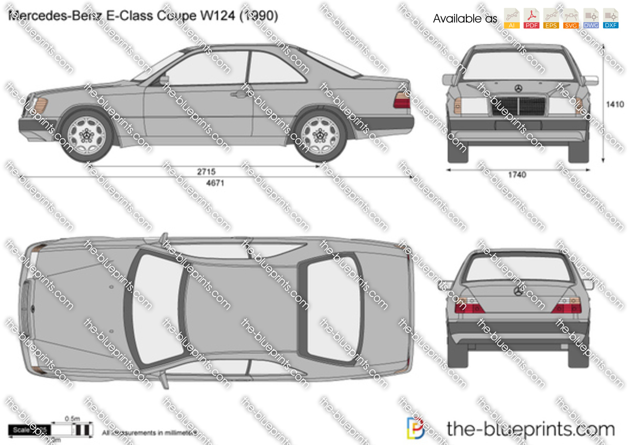 Mercedes benz e class coupe w124 vector drawing - S class coupe dimensions ...