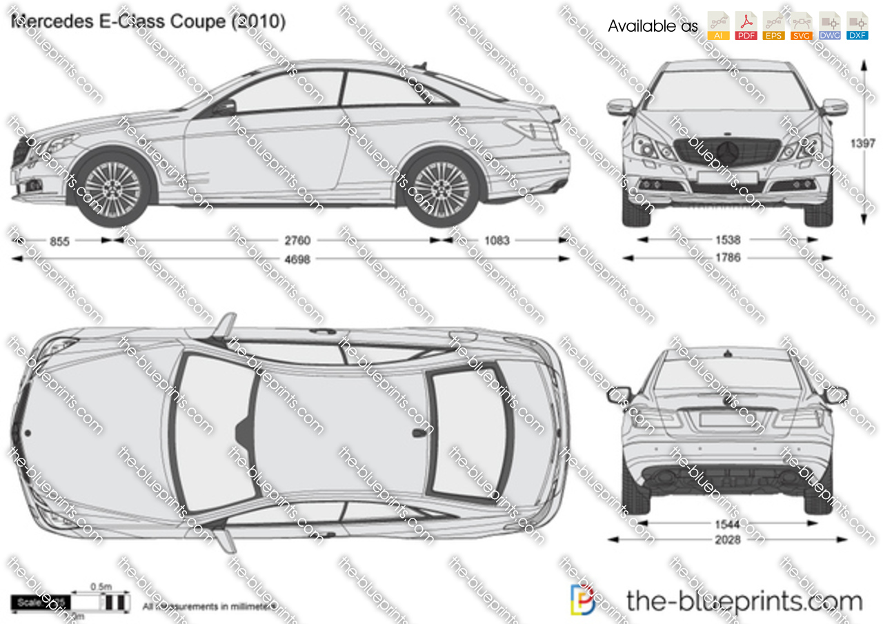 Mercedes benz e class coupe w212 vector drawing - S class coupe dimensions ...