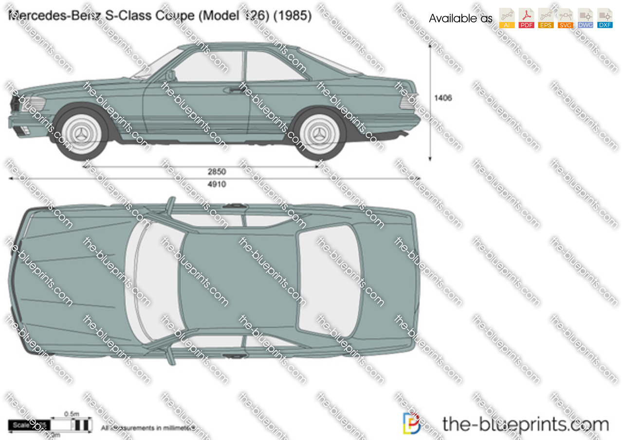 The vector drawing mercedes benz s class coupe w126 - S class coupe dimensions ...