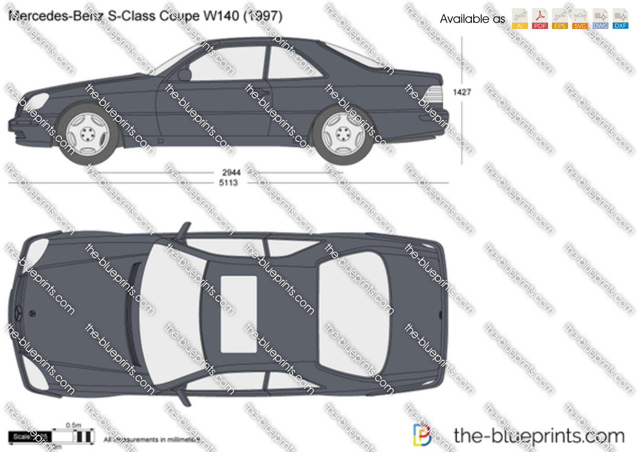 Mercedes benz s class coupe w140 vector drawing - S class coupe dimensions ...
