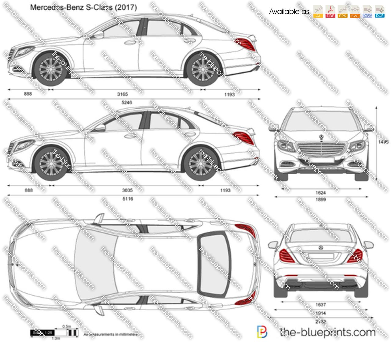 Mercedes-Benz S-Class W222 Vector Drawing