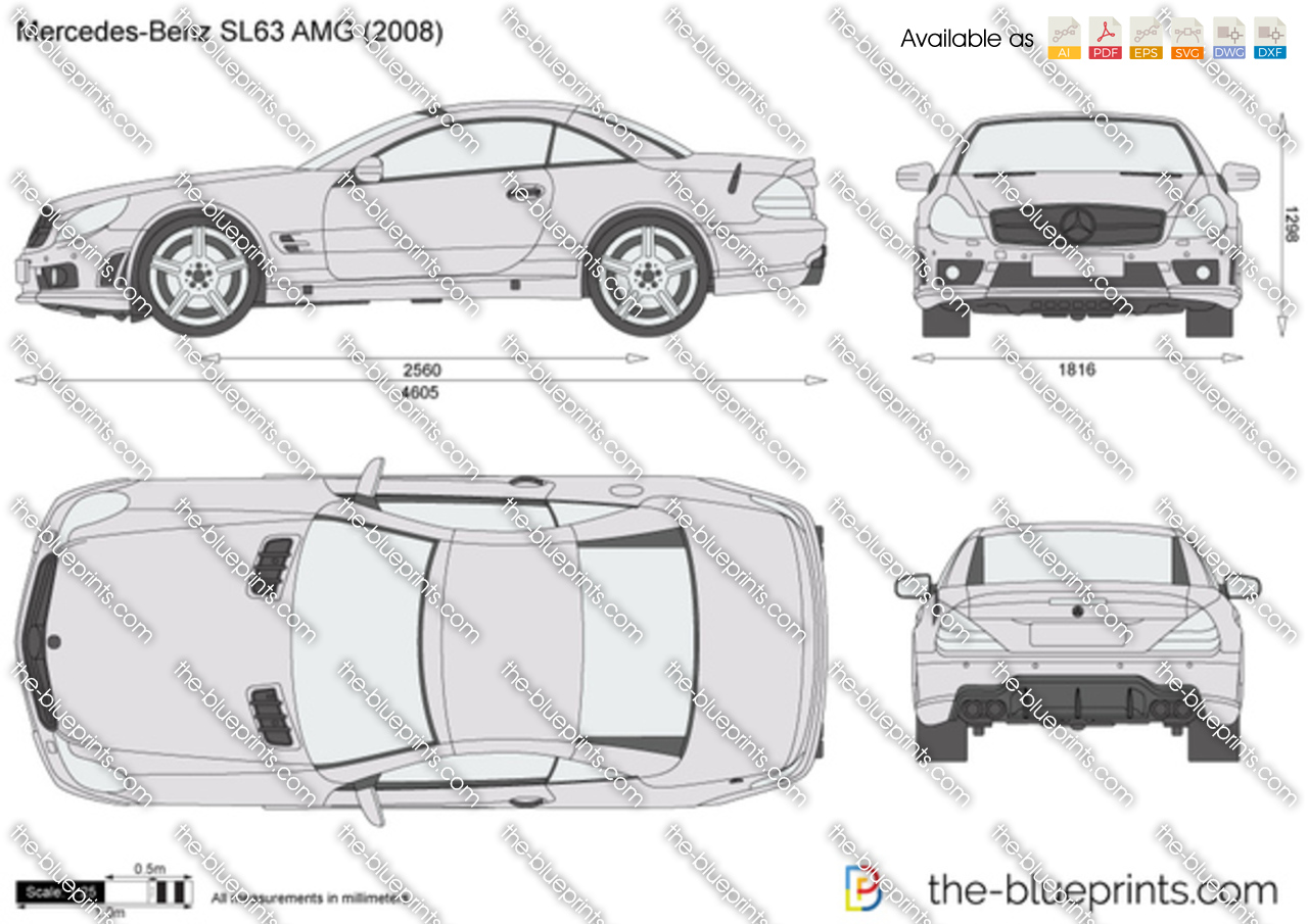 Mercedes Benz Sl63 Amg R230 Vector Drawing