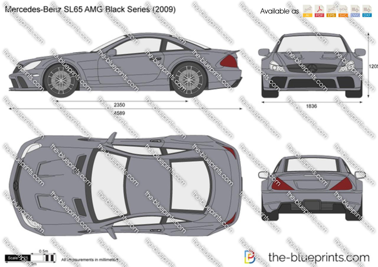 Mercedes Benz Sl65 Amg Black Series R230 Vector Drawing