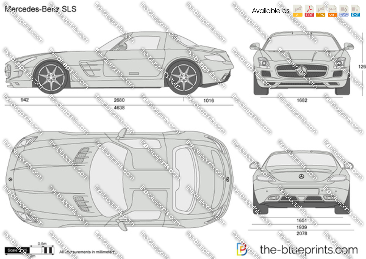 The vector drawing mercedes benz sls c197 for Blueprints for sale