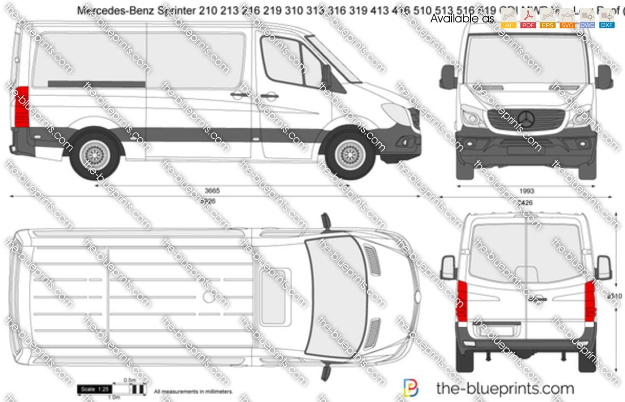 Mercedes-Benz Sprinter 210 213 216 219 310 313 316 319 413 416 510 513 516 519 CDI Van MWB Low Roof 2018