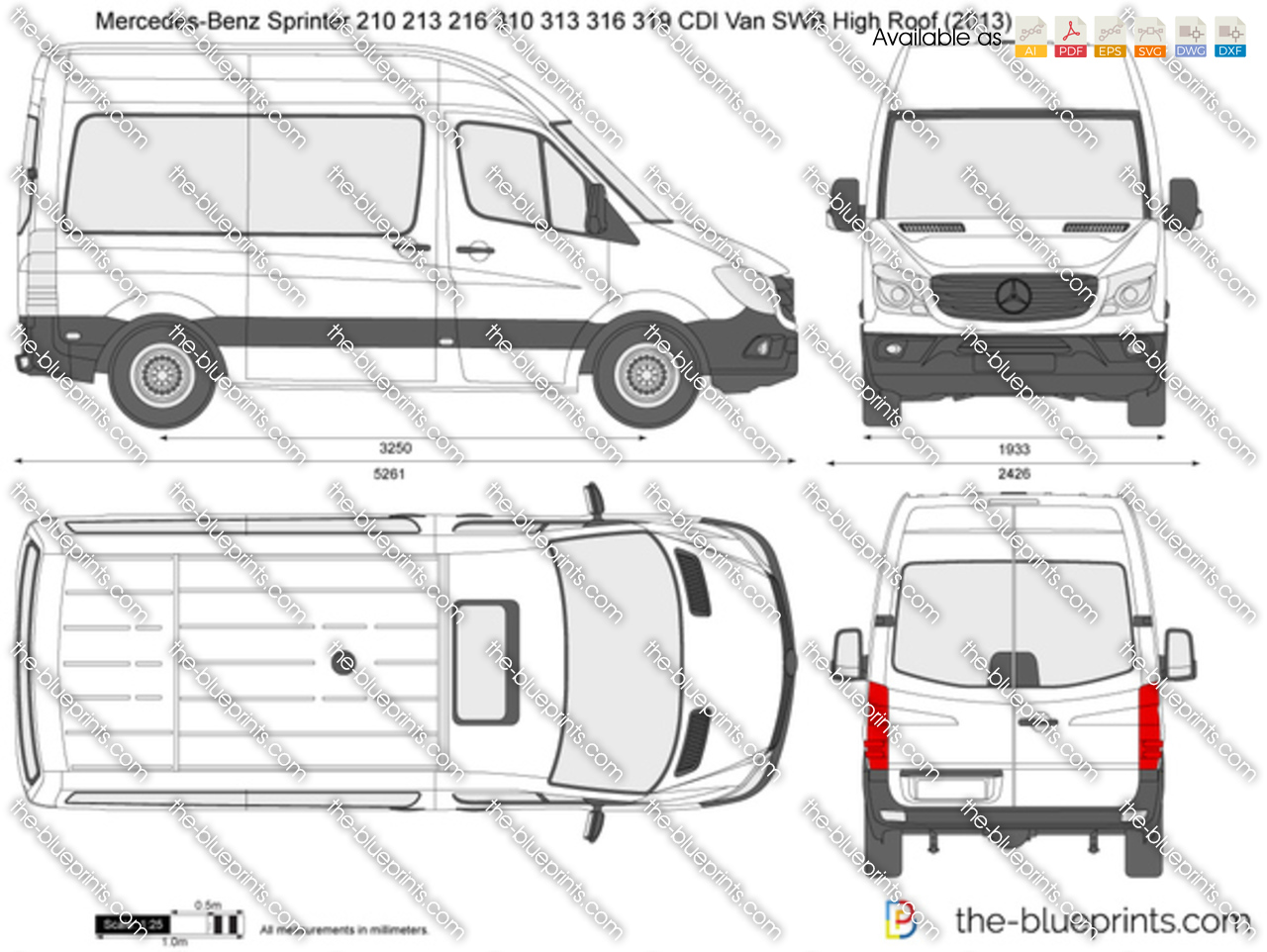 mercedes benz sprinter 210 213 216 310 313 316 319 cdi van swb high roof vector drawing. Black Bedroom Furniture Sets. Home Design Ideas