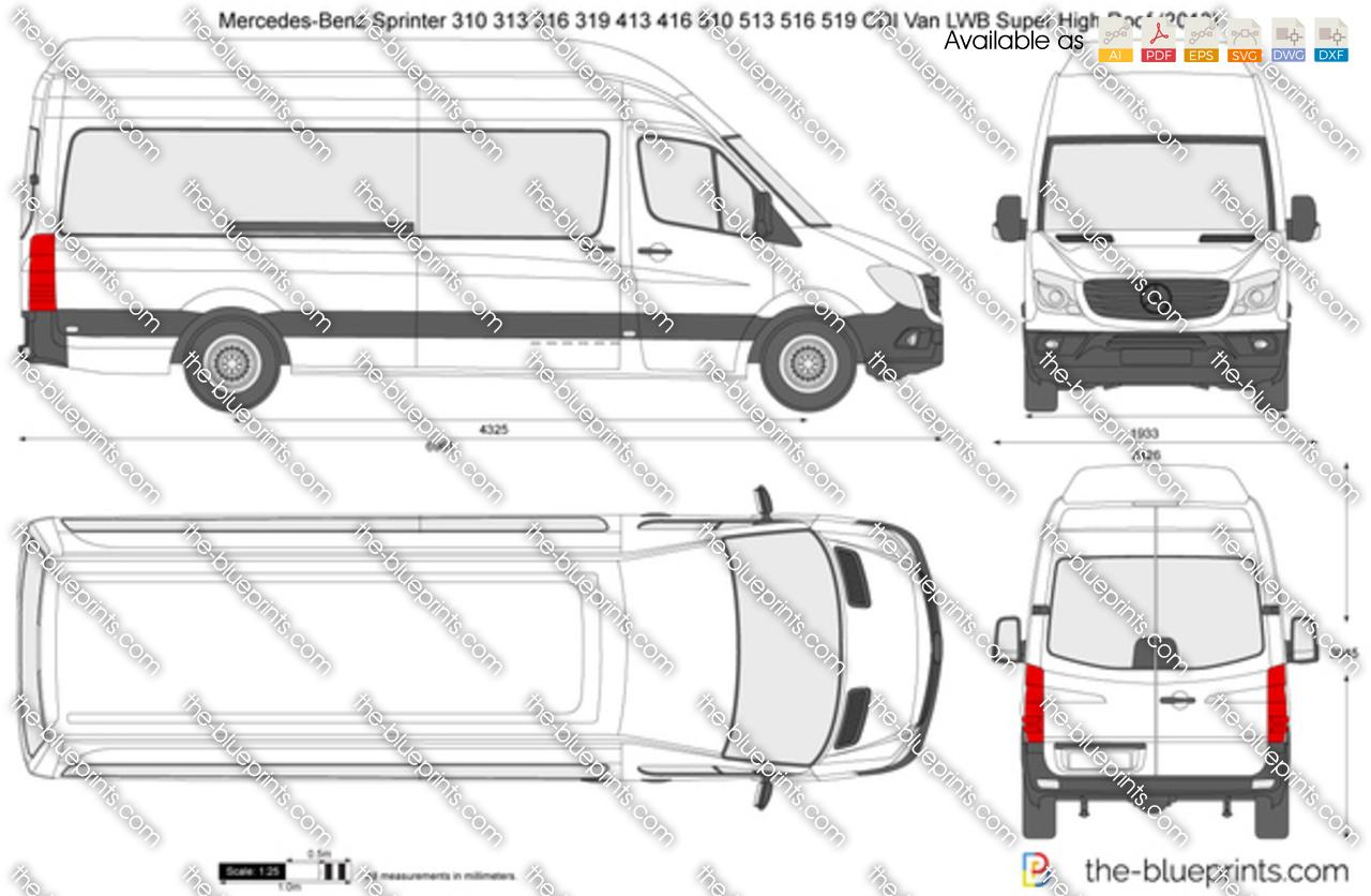 Mercedes-Benz Sprinter 310 313 316 319 413 416 510 513 516 519 CDI Van LWB Super High Roof 2016