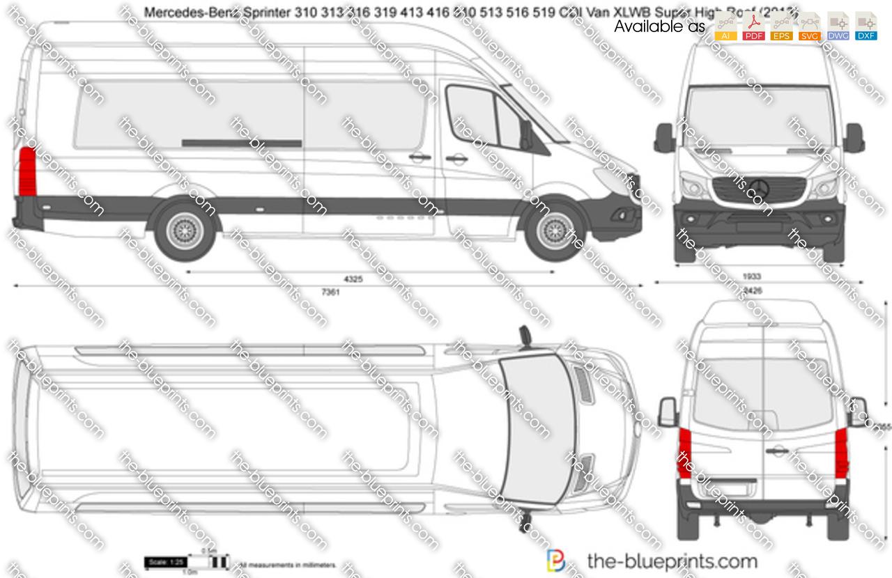 Mercedes-Benz Sprinter 310 313 316 319 413 416 510 513 516 519 CDI Van XLWB Super High Roof