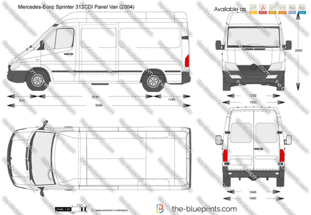 The vector drawing mercedes benz sprinter 313cdi panel van - Layouts hoogte ...