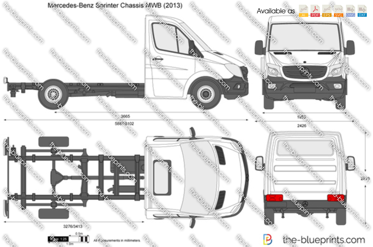 Mercedes benz sprinter chassis mwb vector drawing for Mercedes benz sprinter chassis