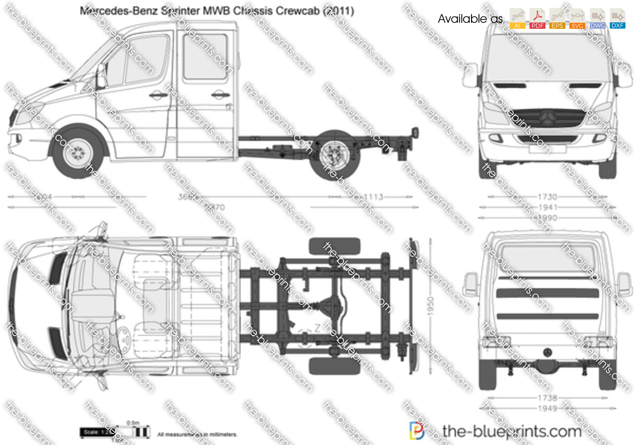 Mercedes Benz Sprinter Mwb Chassis Crewcab Vector Drawing