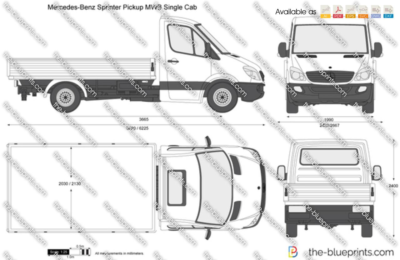 mercedes benz sprinter pickup mwb single cab vector drawing. Black Bedroom Furniture Sets. Home Design Ideas