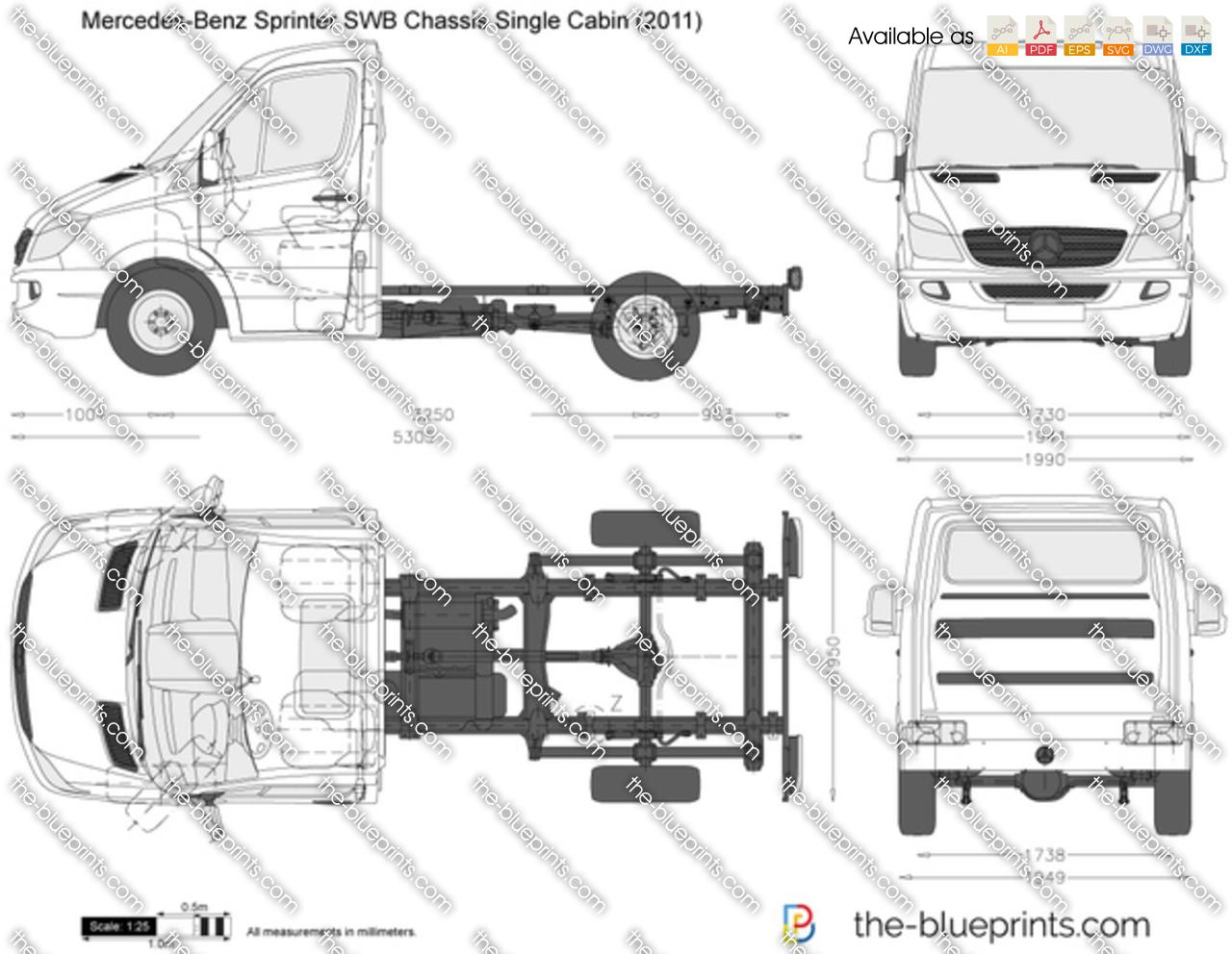 Mercedes benz sprinter swb chassis single cabin vector drawing for Mercedes benz sprinter chassis