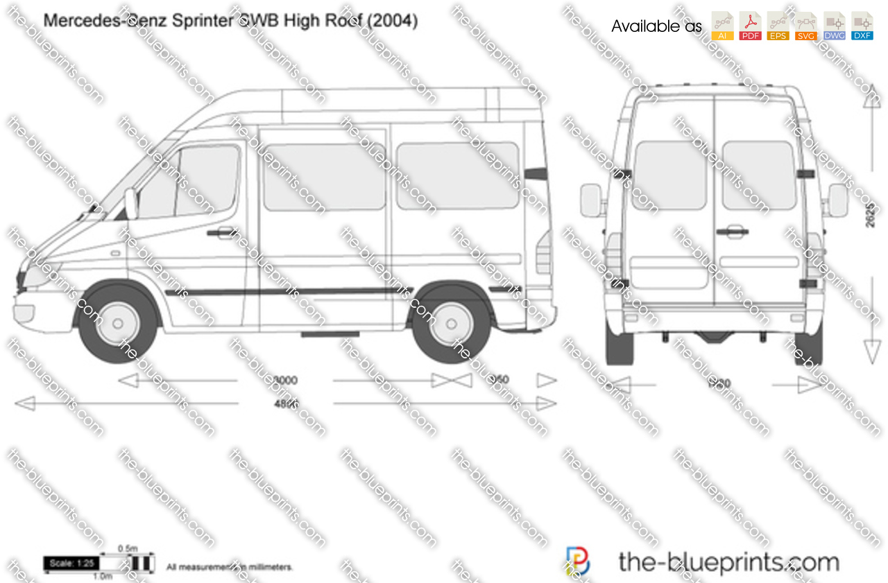 mercedes benz sprinter swb high roof vector drawing. Black Bedroom Furniture Sets. Home Design Ideas