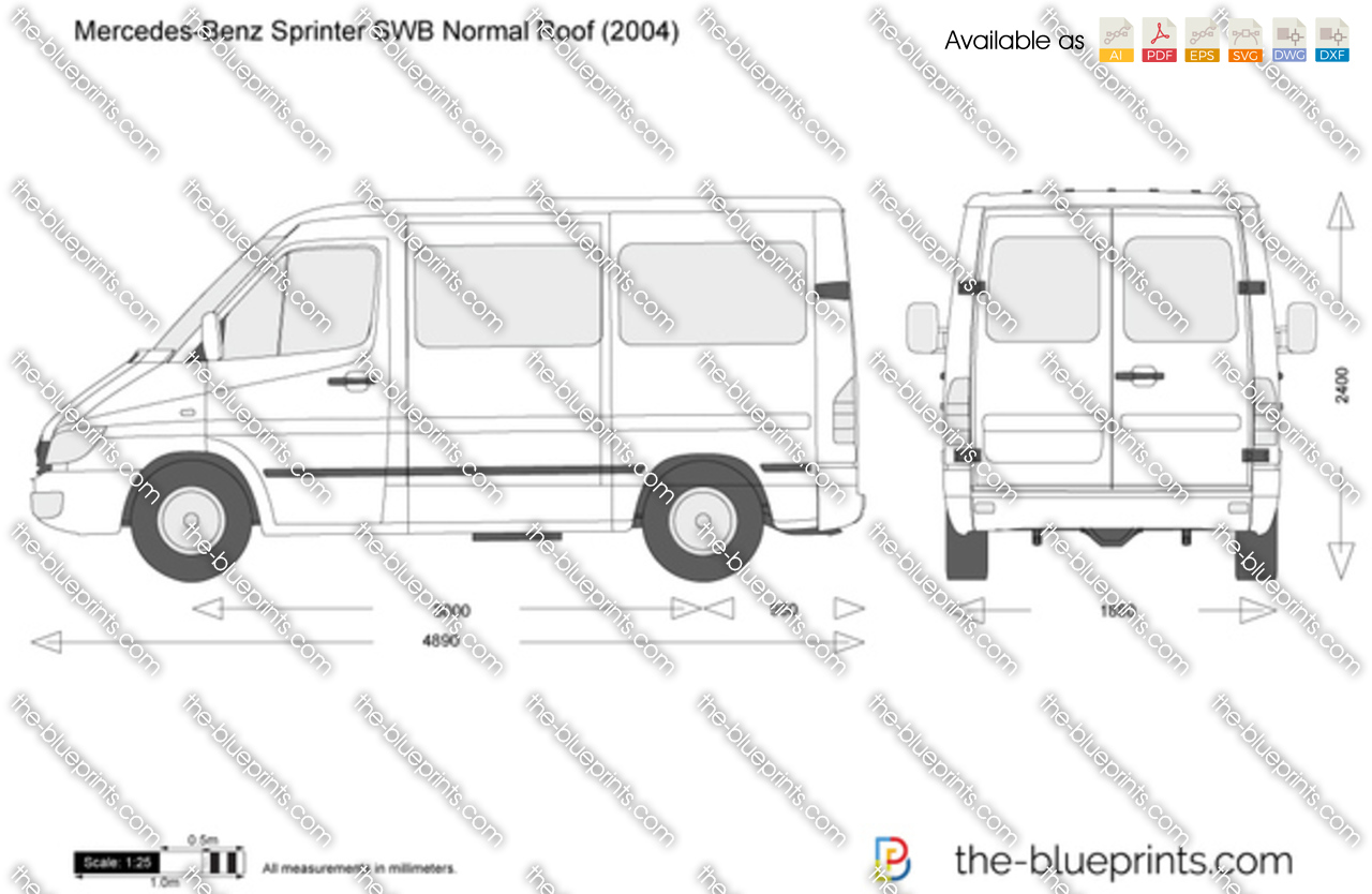 Mercedes Benz Sprinter Swb Normal Roof Vector Drawing