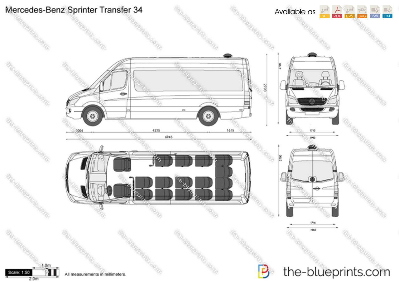 Mercedes Benz Sprinter Transfer 34 Vector Drawing
