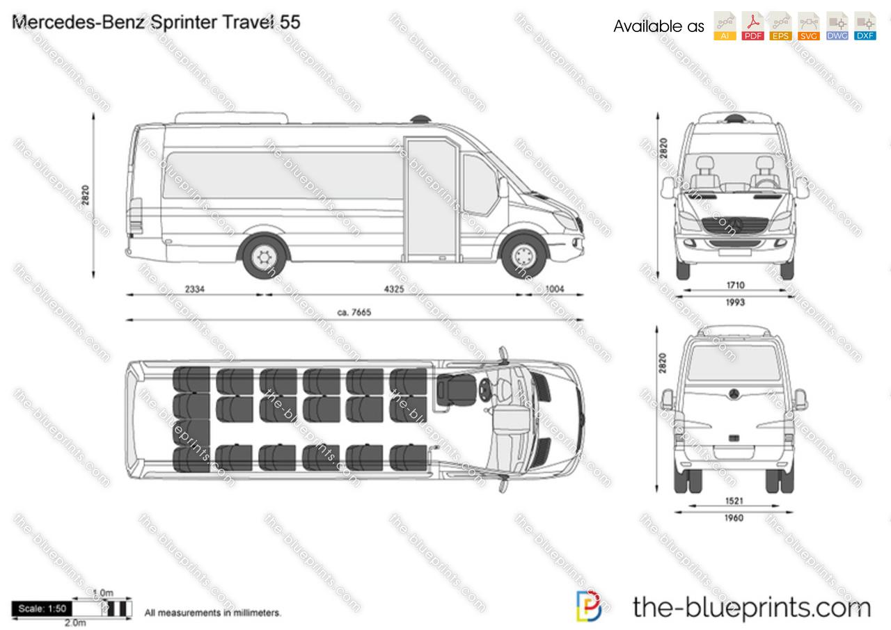 mercedes benz sprinter van dimensions sketch coloring page