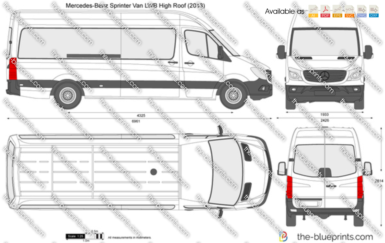 Mercedes Benz Sprinter Van Lwb High Roof Vector Drawing