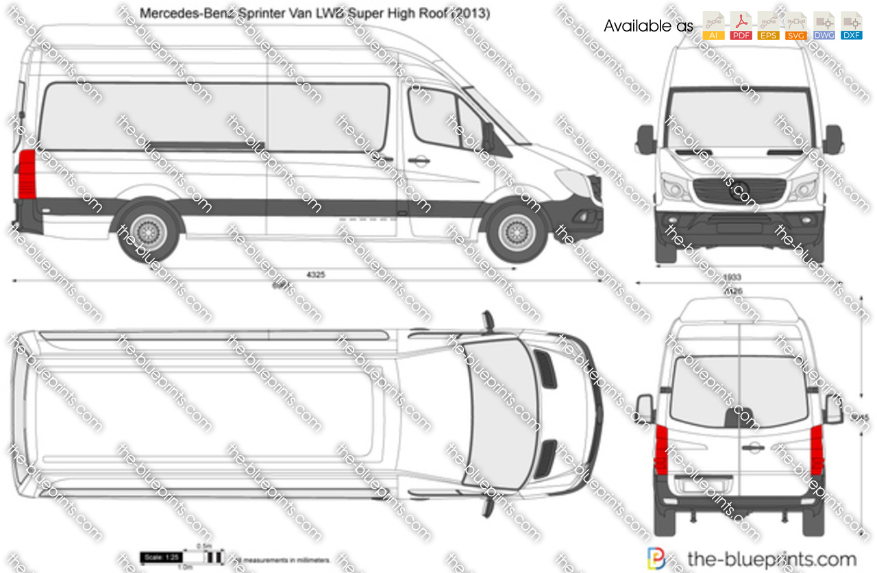 Mercedes Benz Sprinter Van Lwb Super High Roof Vector Drawing