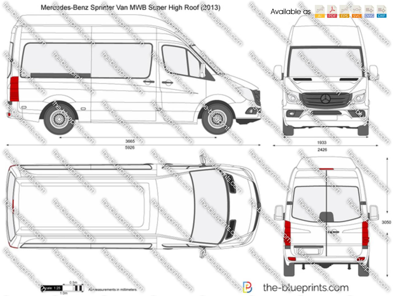 Mercedes Benz Sprinter Van Mwb Super High Roof Vector Drawing