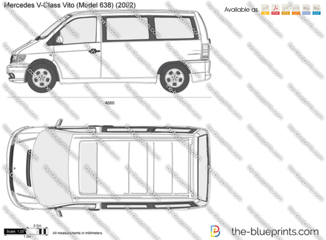 the vector drawing mercedes benz v class vito w638. Black Bedroom Furniture Sets. Home Design Ideas