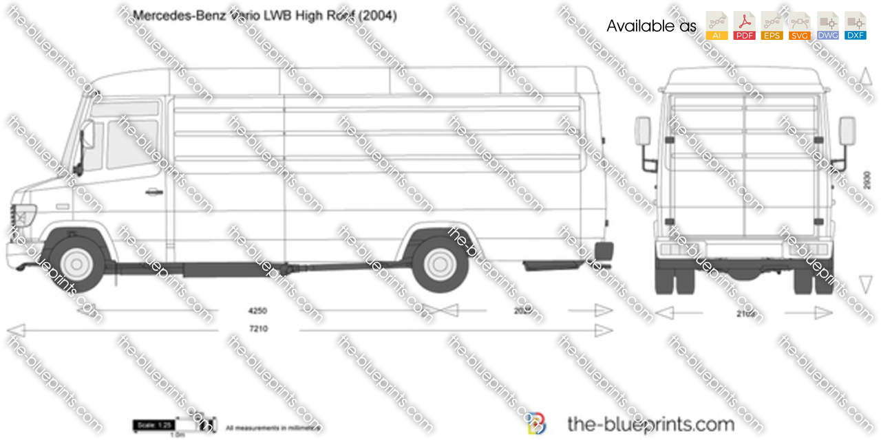Mercedes Benz Vario Lwb High Roof Vector Drawing