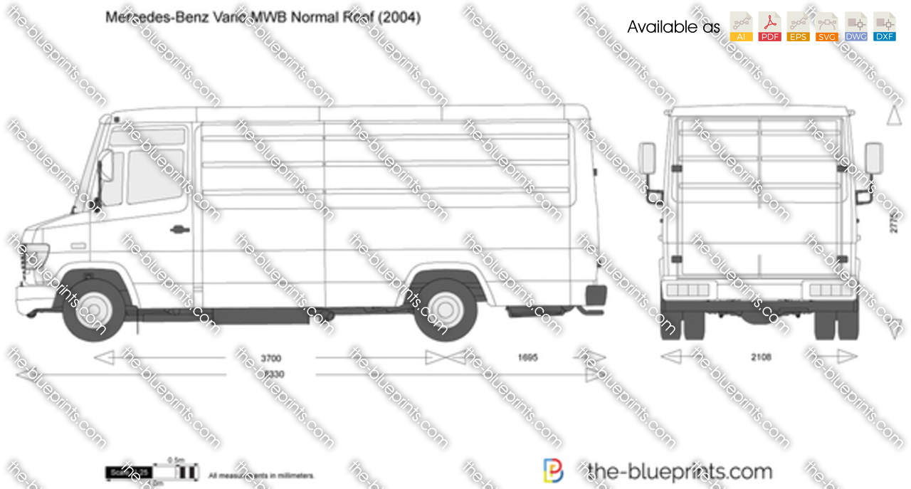 Mercedes Benz Vario Mwb Normal Roof Vector Drawing