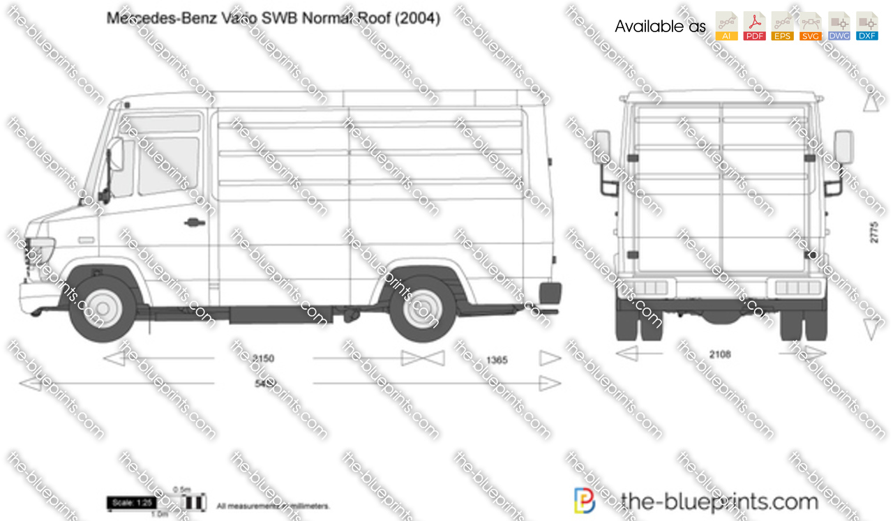 Mercedes Benz Vario Swb Normal Roof Vector Drawing