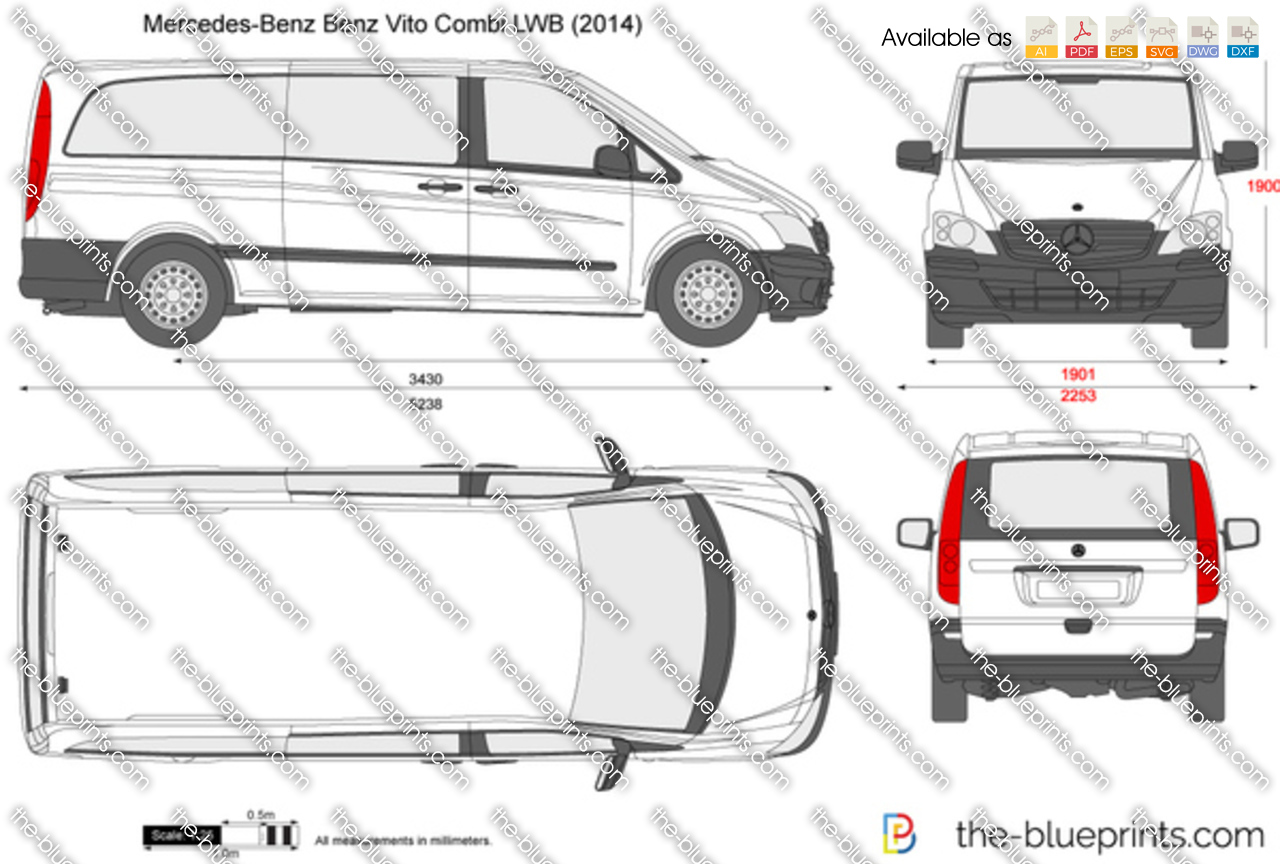 mercedes benz vito combi lwb vector drawing. Black Bedroom Furniture Sets. Home Design Ideas