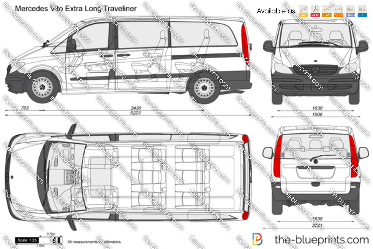 The vector drawing mercedes benz vito for Blueprint sizes