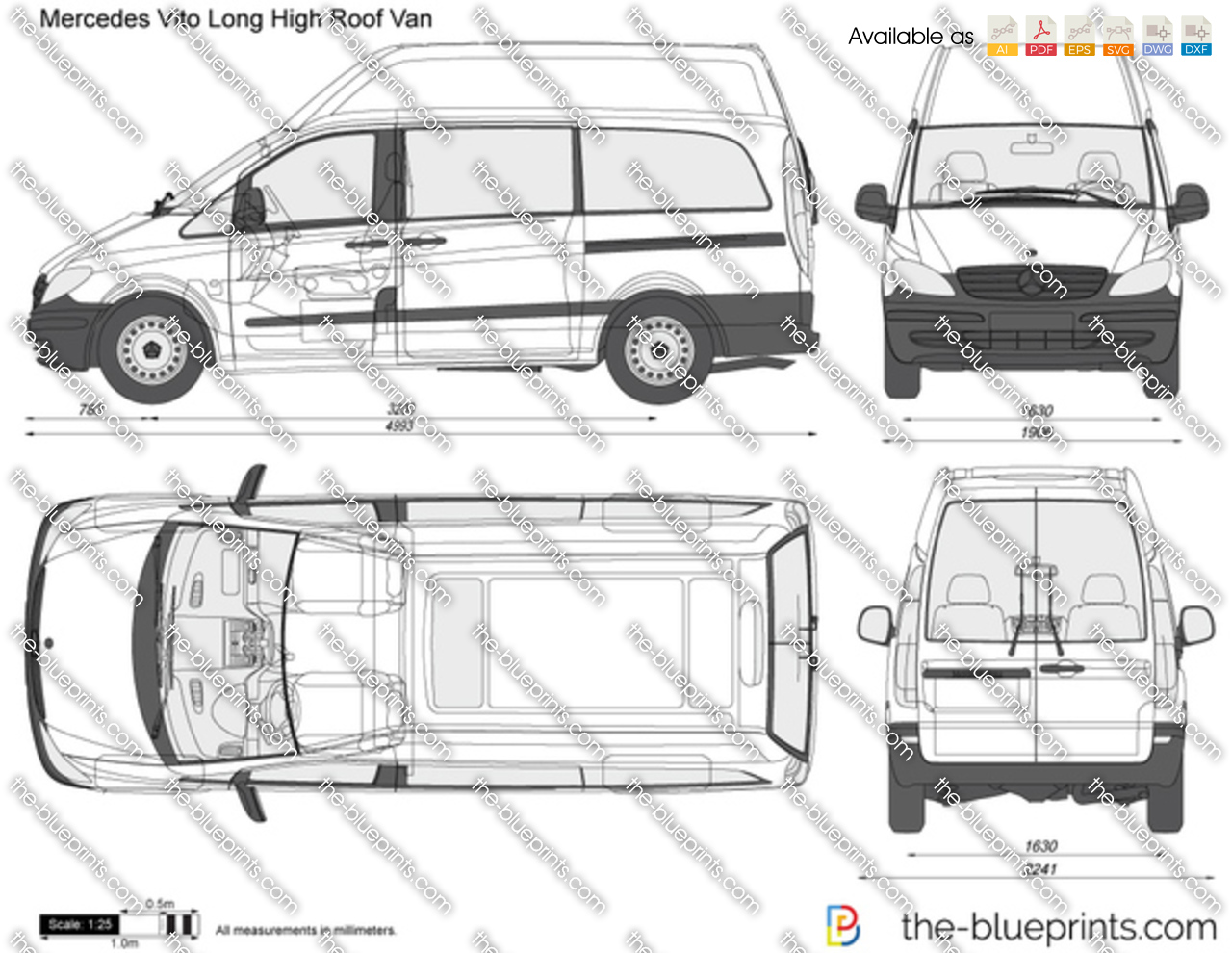 Mercedes Benz Vito Long High Roof Van Vector Drawing