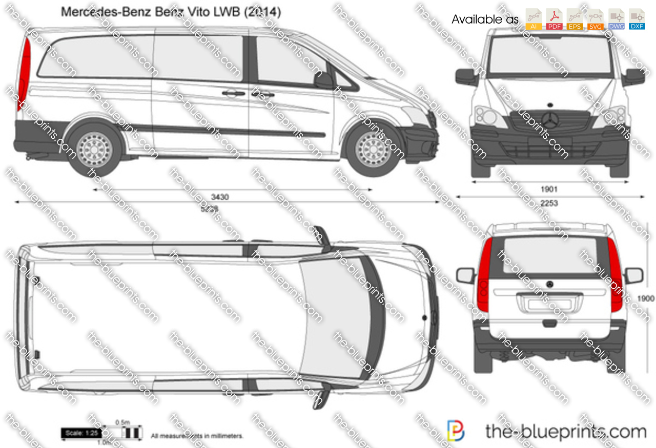 the vector drawing mercedes benz vito lwb. Black Bedroom Furniture Sets. Home Design Ideas