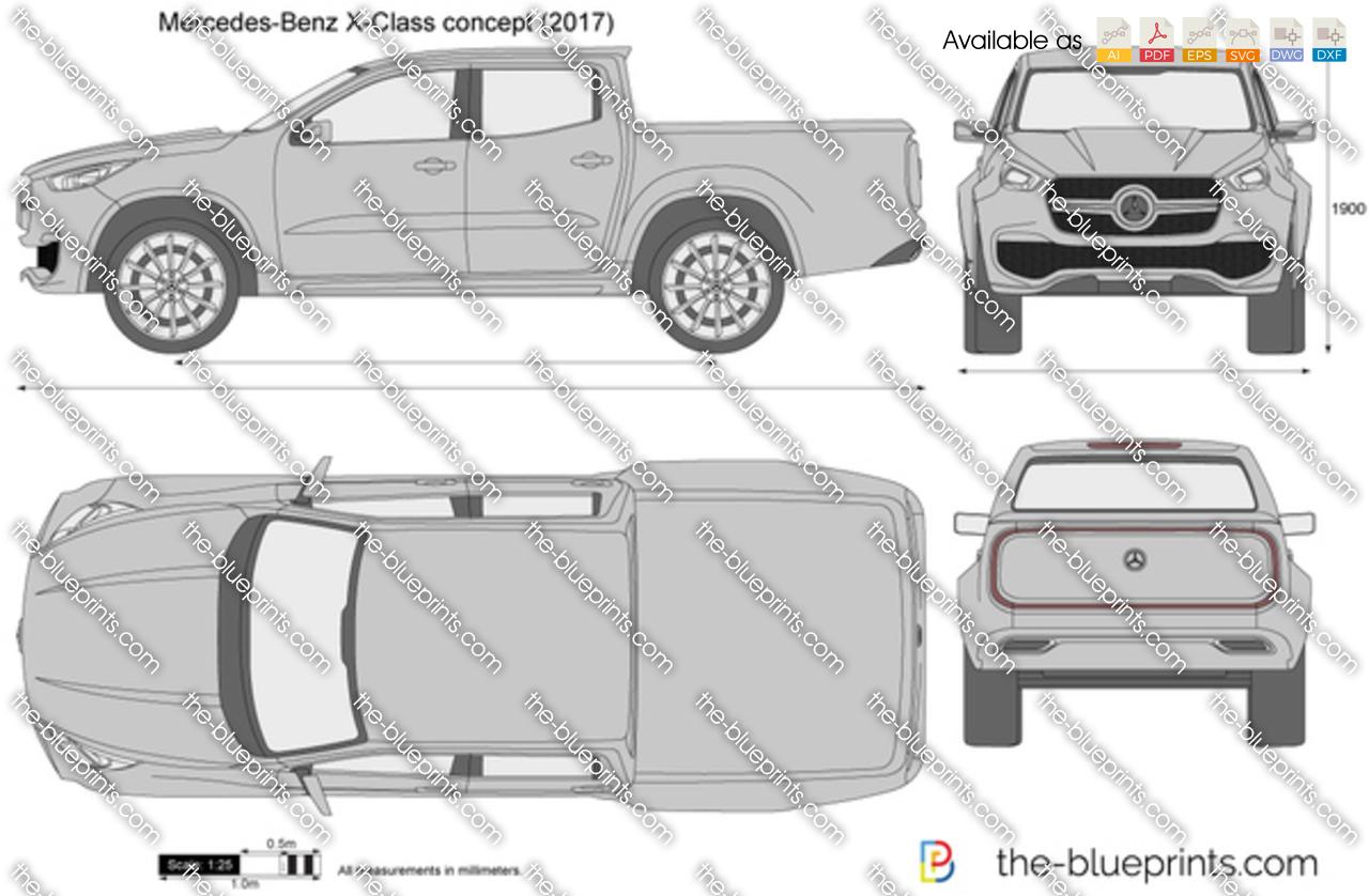 Mercedes Benz X Class Concept Vector Drawing