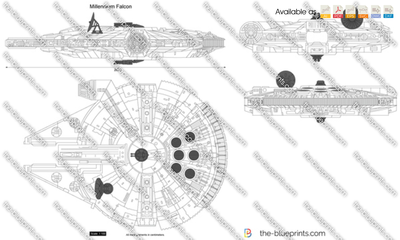 The Blueprints Com Vector Drawing Millennium Falcon