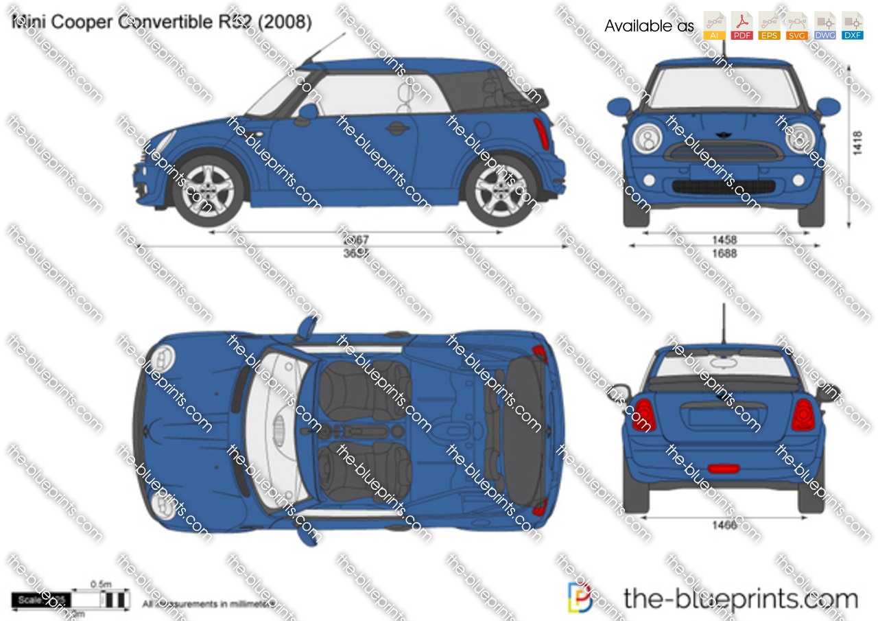 mini cooper convertible r52 vector drawing. Black Bedroom Furniture Sets. Home Design Ideas