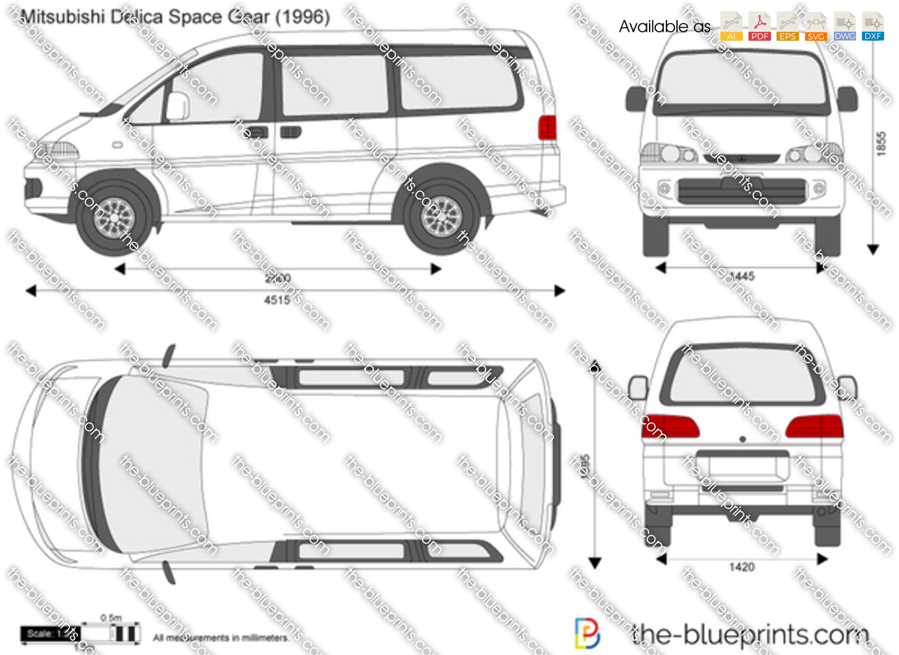 Mitsubishi Delica Space Gear Vector Drawing