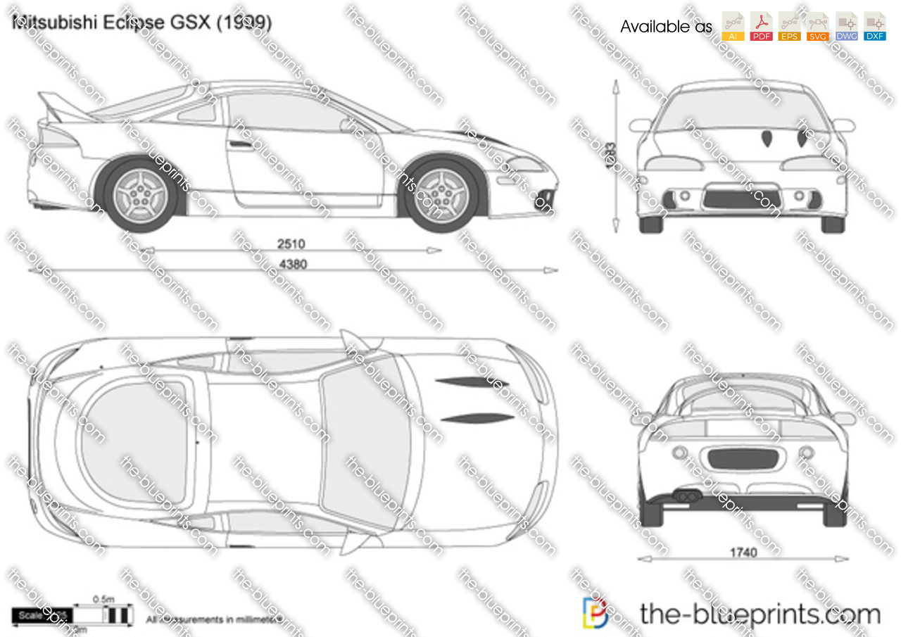 The-Blueprints.com - Vector Drawing - Mitsubishi Eclipse GSX