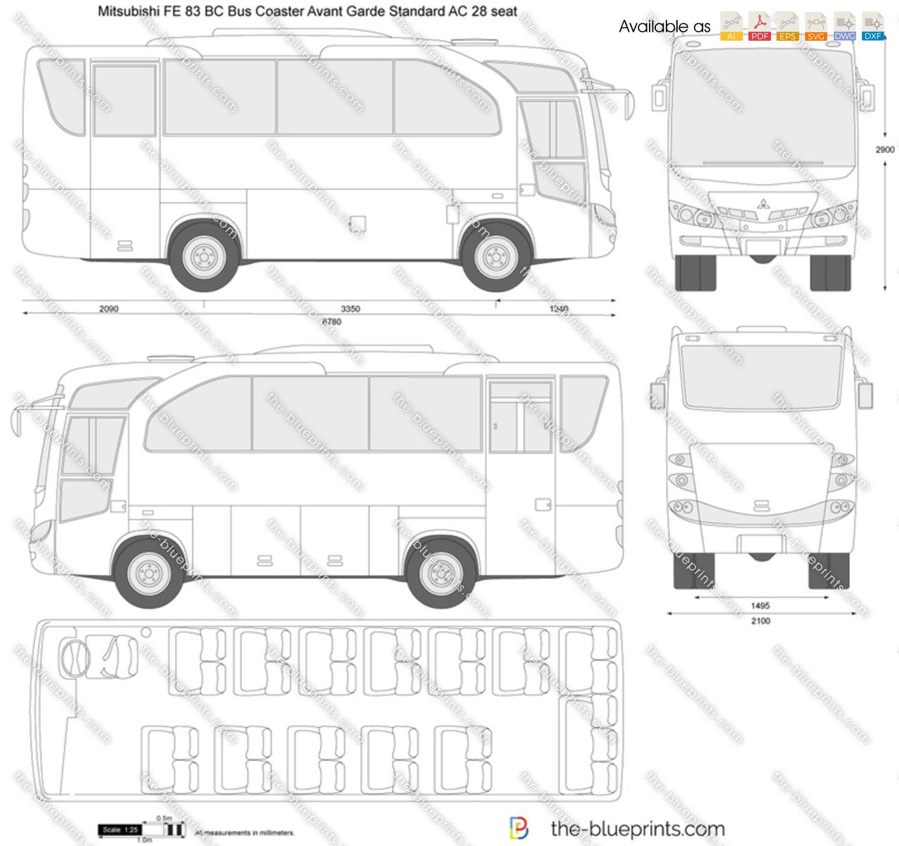 Mitsubishi FE 83 BC Bus Coaster Avant Garde Standard AC 28 seat